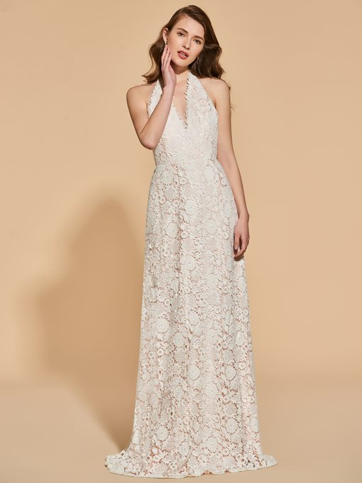 Ericdress Sexy Halter Lace Backless Evening Dress