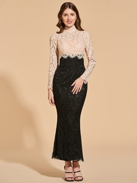 Ericdress Contrast Color Long Sleeve Lace Mermaid Evening Dress