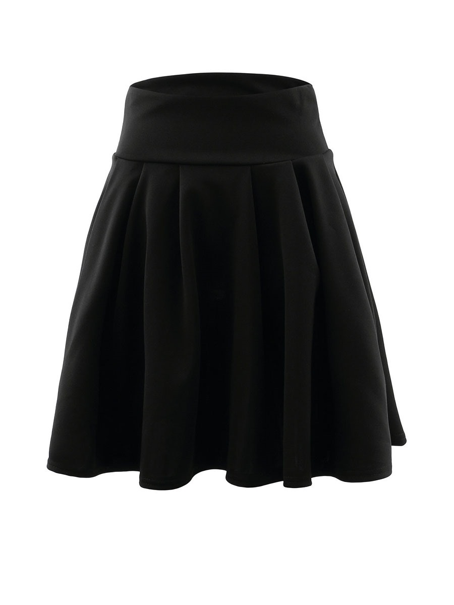 Ericdress Pleated A-Line Plain High Waist Skirt