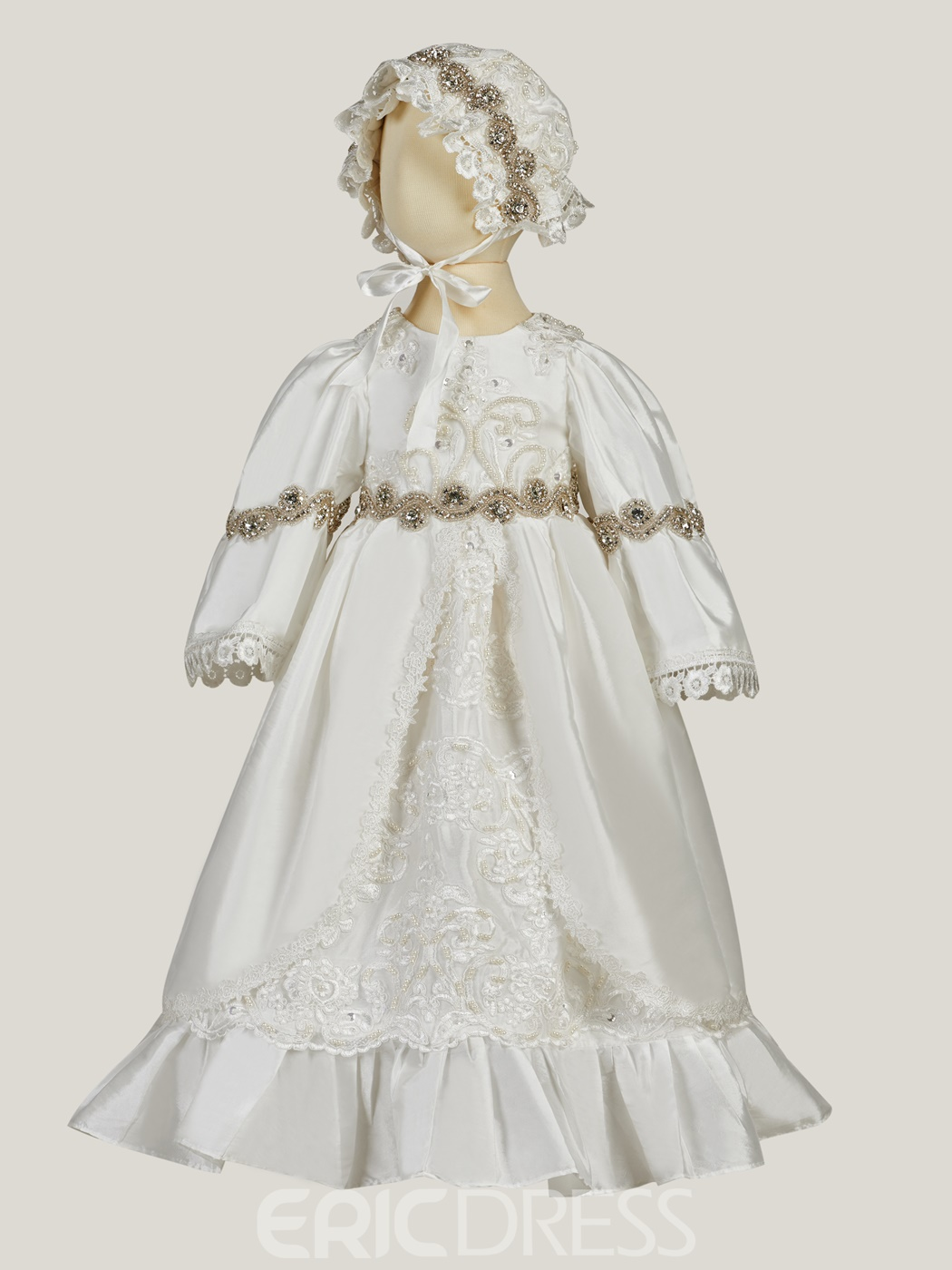 Ericdress Lace Beading Crystal Baptism Baby Girls Christening Gown with Hat