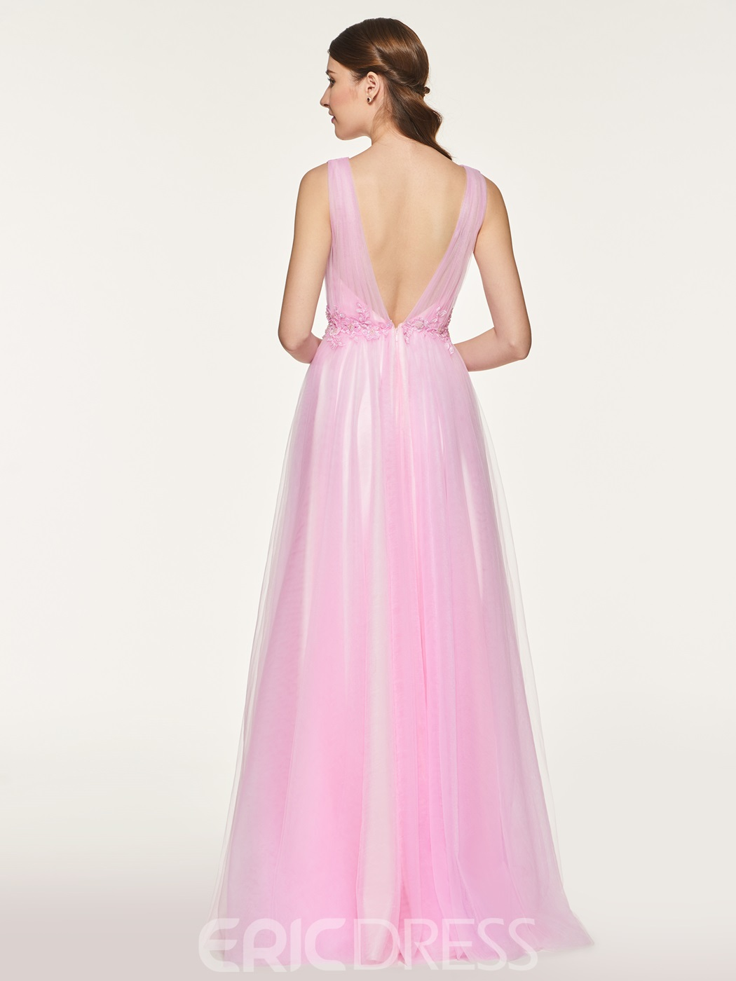 Ericdress Straps Appliques Backless Long Bridesmaid Dress