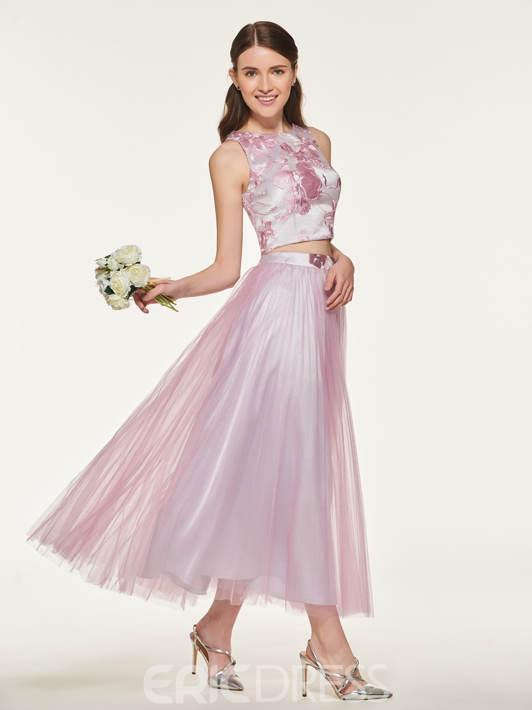 Ericdress two pieces a line tulle bridesmaid dress 13169630 ericdress two pieces a line tulle bridesmaid dress ombrellifo Images