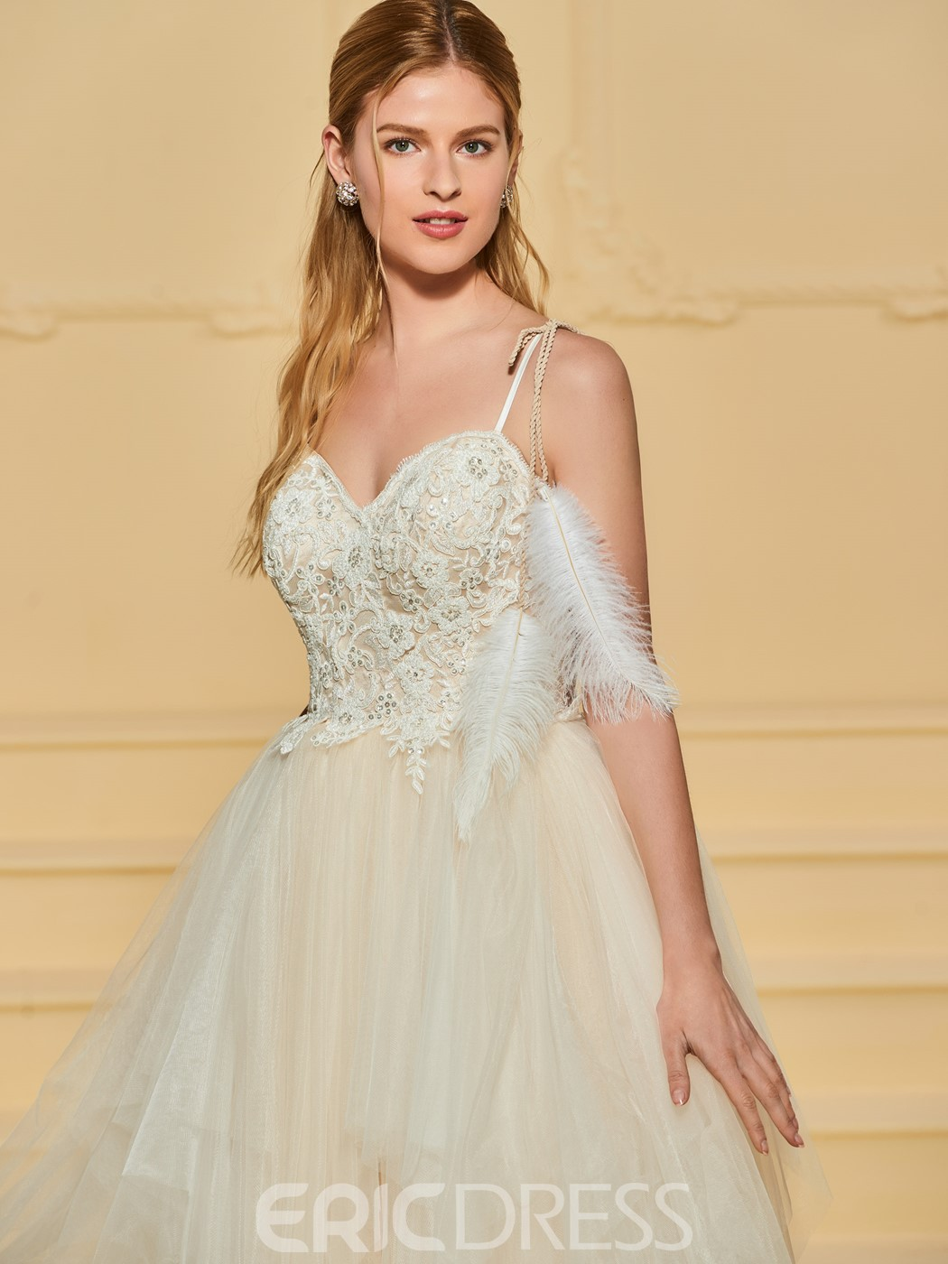 Ericdress Straps Appliques Beading Wedding Dress