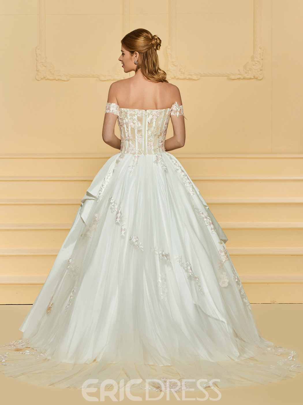 Ericdress Lace-Up Off the Shoulder Appliques Wedding Dress