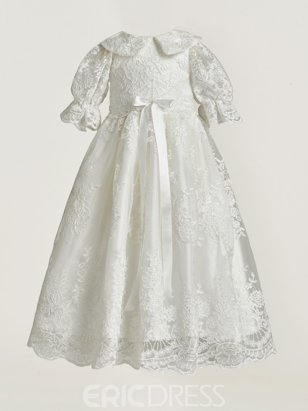 Ericdress Lovely Lace Applique Christening Gown for Girls with Headpiece