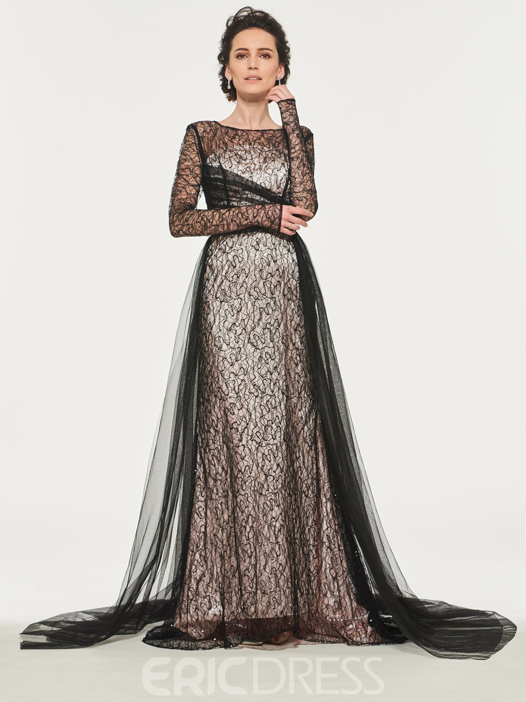 4415caf1de6 Ericdress Mermaid Lace Long Sleeves Mother of the Bride Dress ...