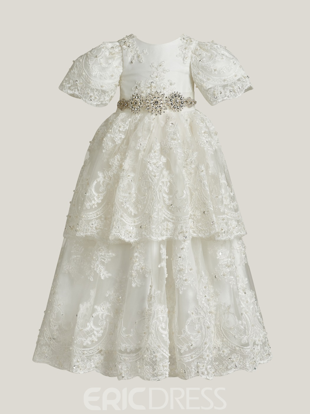 Ericdress Scoop A Line Short Sleeves Appliques Christening Gown