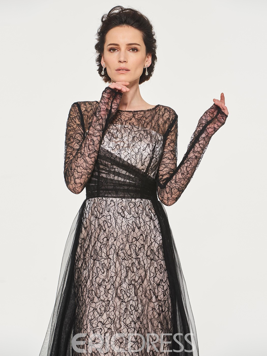 Ericdress Mermaid Lace Long Sleeves Mother of the Bride Dress