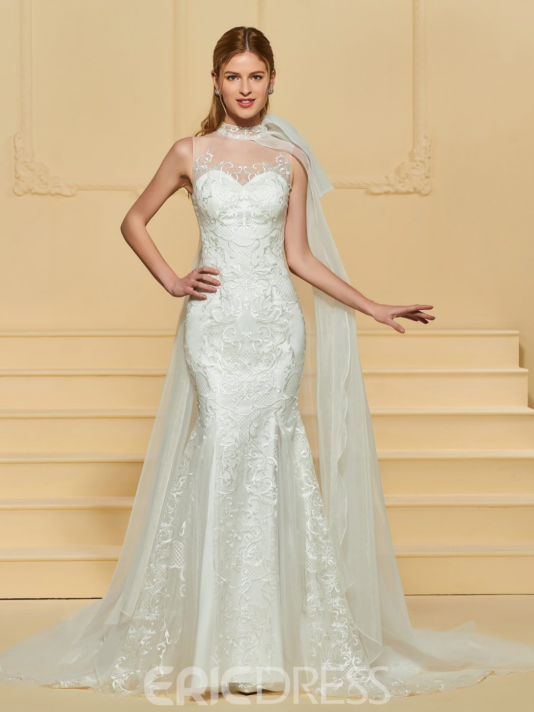 Ericdress Mermaid Lace High Neck Wedding Dress 13169615 - Ericdress.com