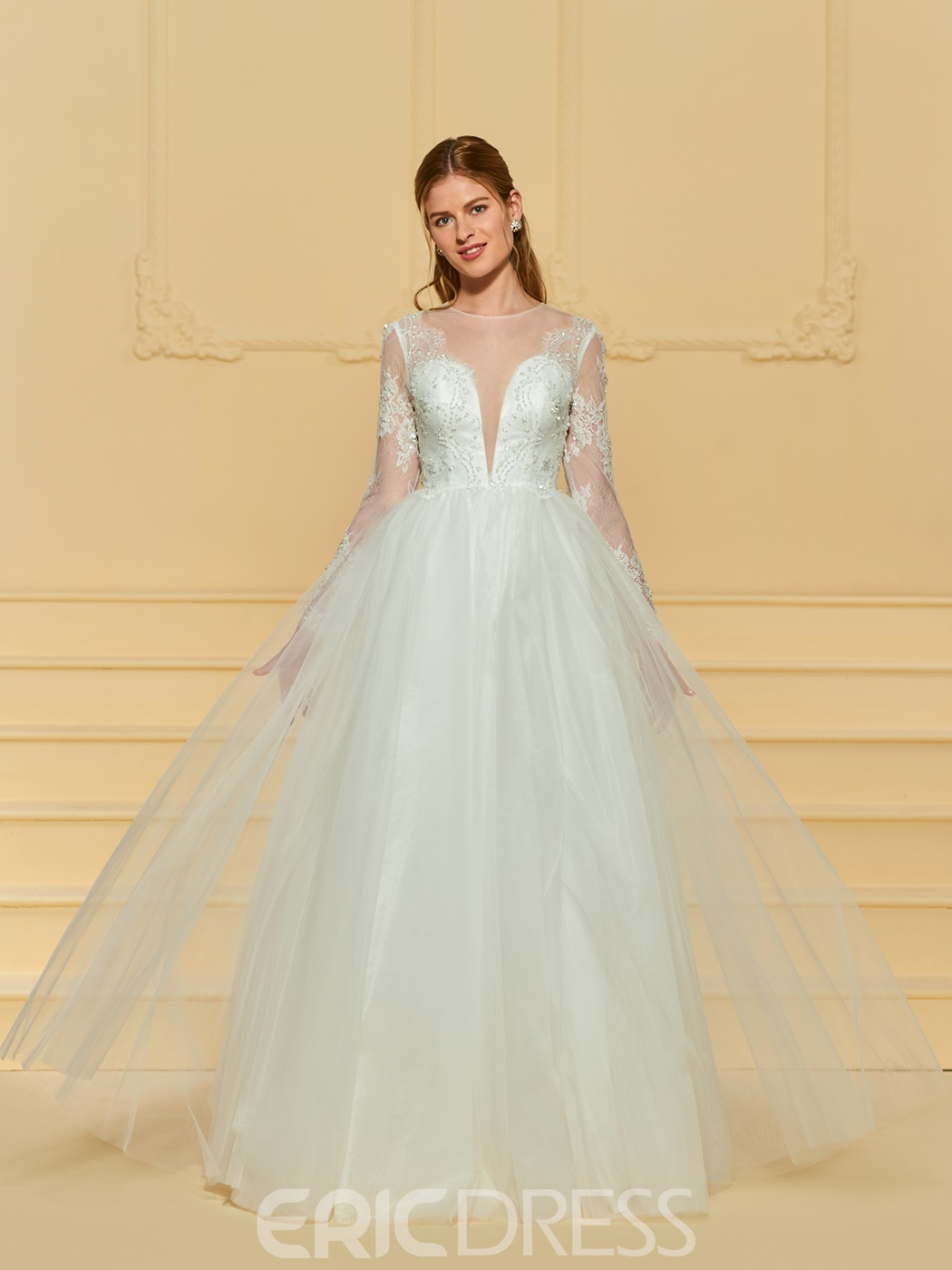 Ericdress Long Sleeves A Line Tulle Wedding Dress 13172384 ...
