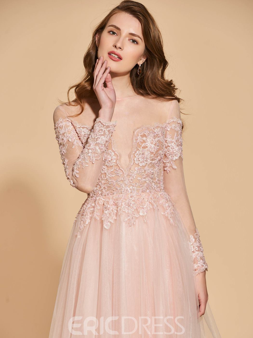 Ericdress A Line Applique Lace Long Sleeve Prom Dress