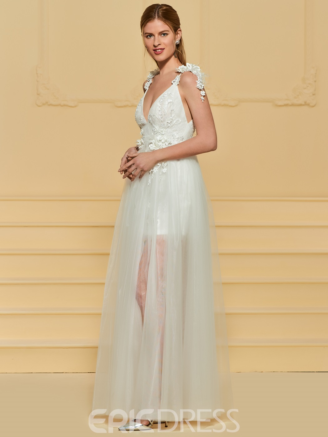 Ericdress V Neck Tulle Beach Wedding Dress