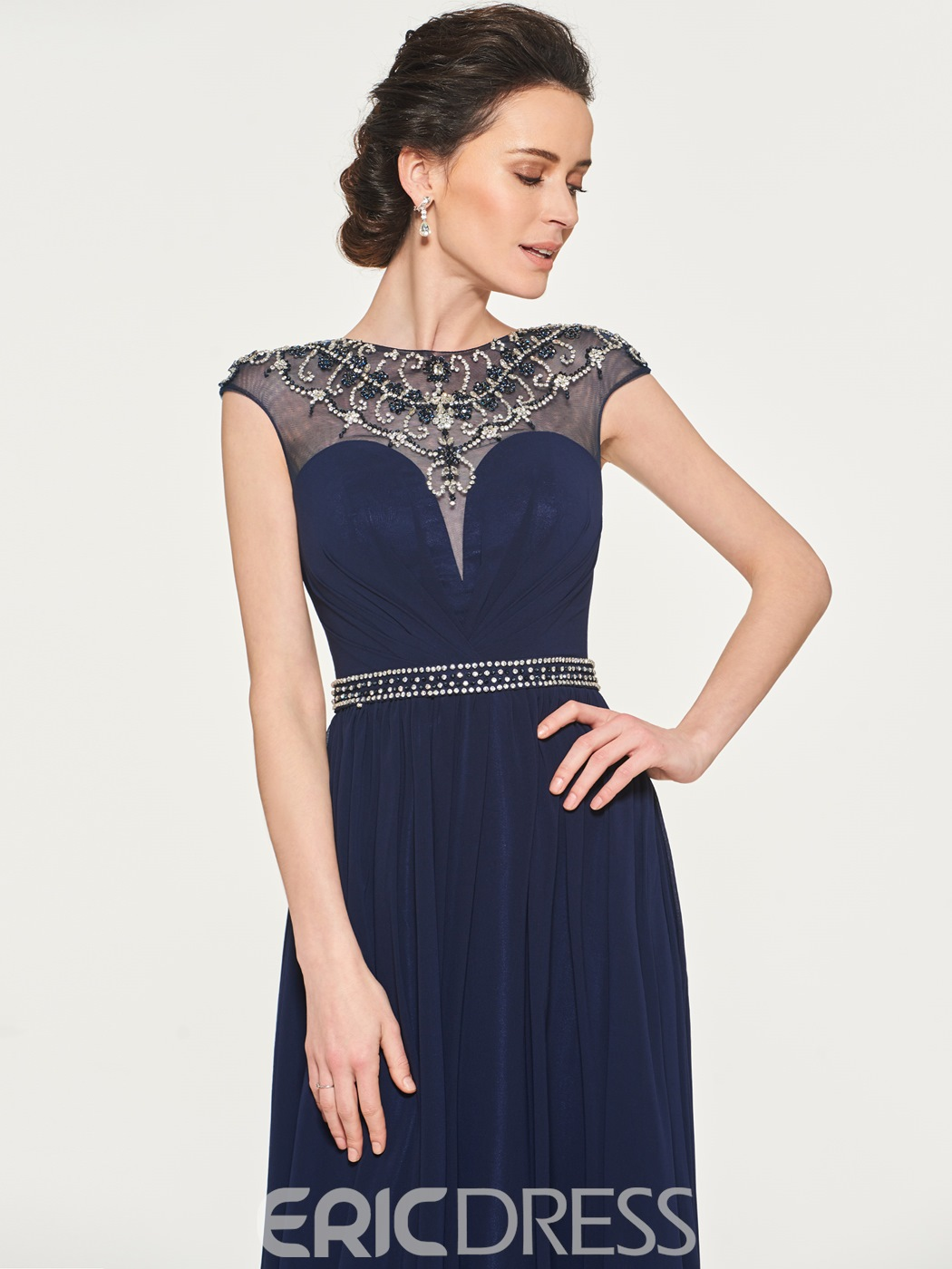 Ericdress A-Line Beaded Long Mother of the Bride Dress