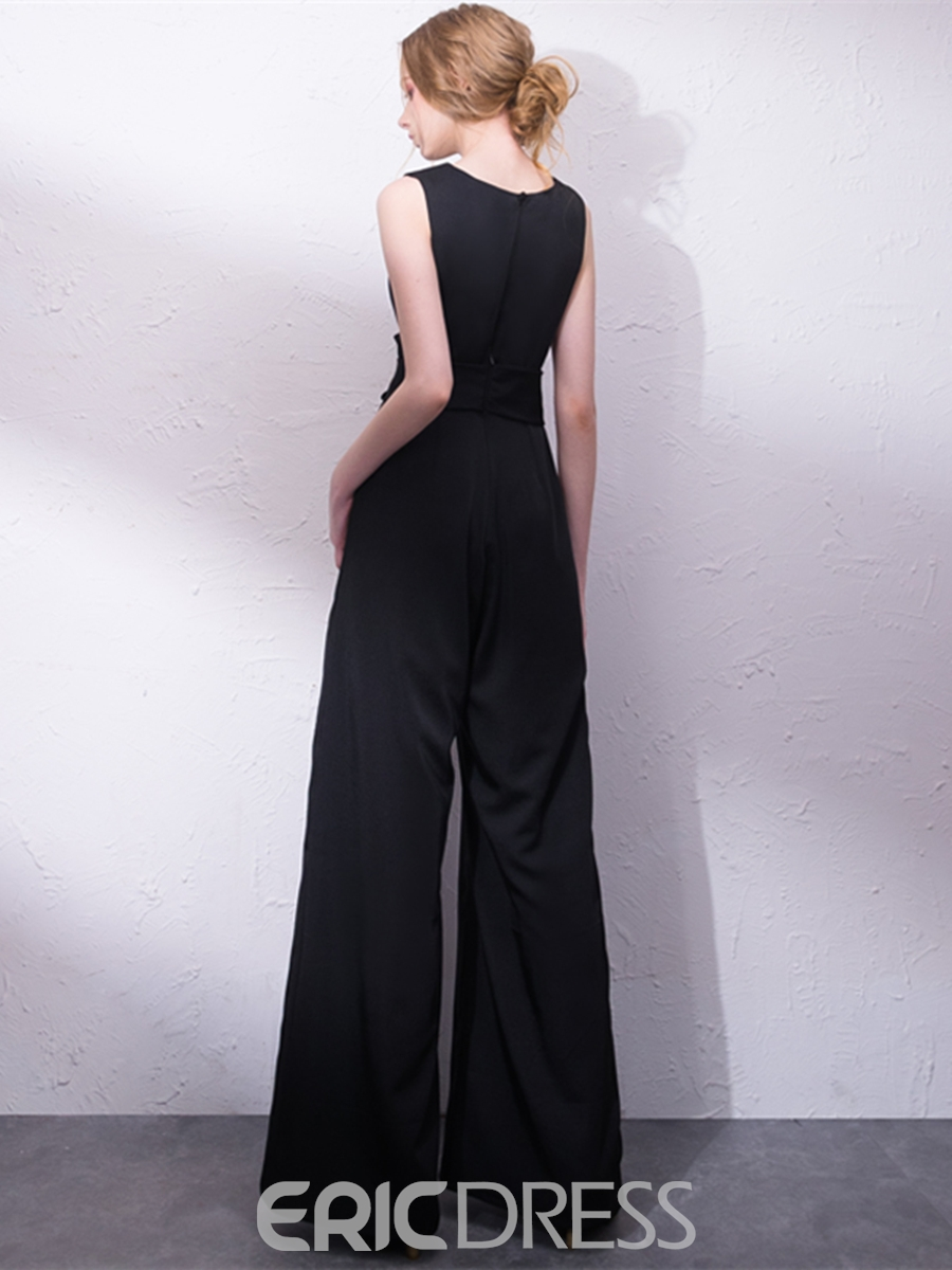 Ericdress V Neck Pleats Loose Prom Jumpsuit With Bowknot