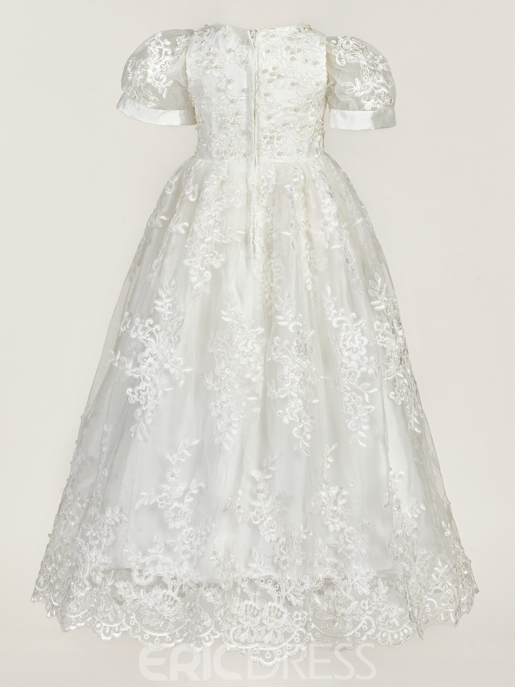 Ericdress Lace Tulle Beading Bonnet Christening Gown for Girls