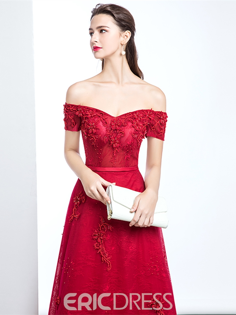 Ericdress A Line Off The Shoulder Short Sleeve Lace Evening Dress