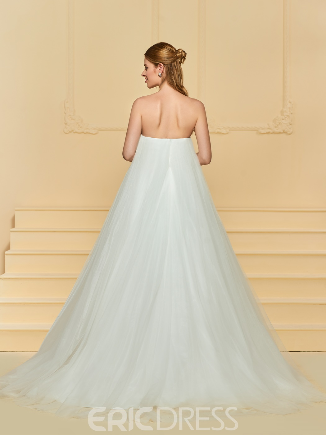 Ericdress Strapless Tulle A Line Wedding Dress