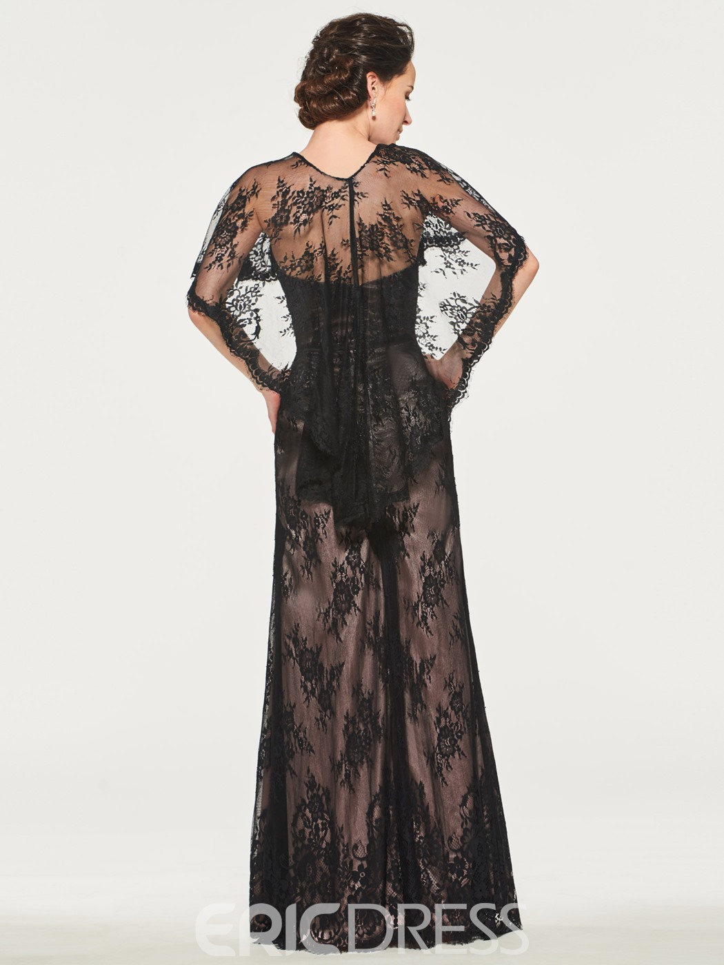 Ericdress Black Lace Mother of the Bride Dress