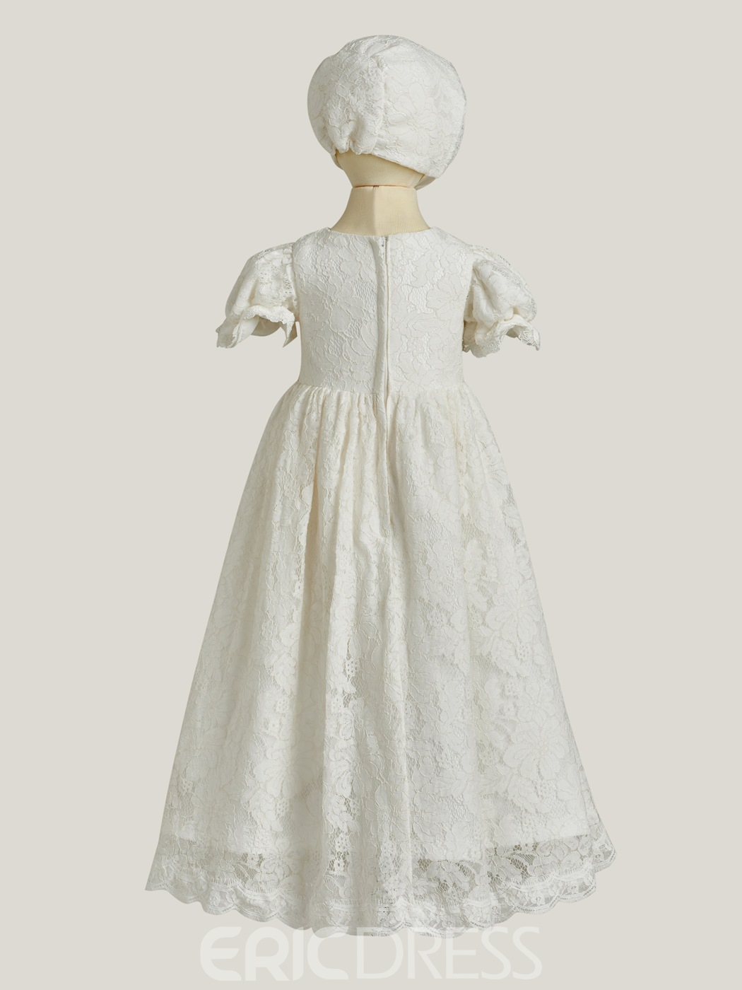 5bbcd219a ... Ericdress Short Sleeves Ball Gown Lace Baby Christening Dress ...
