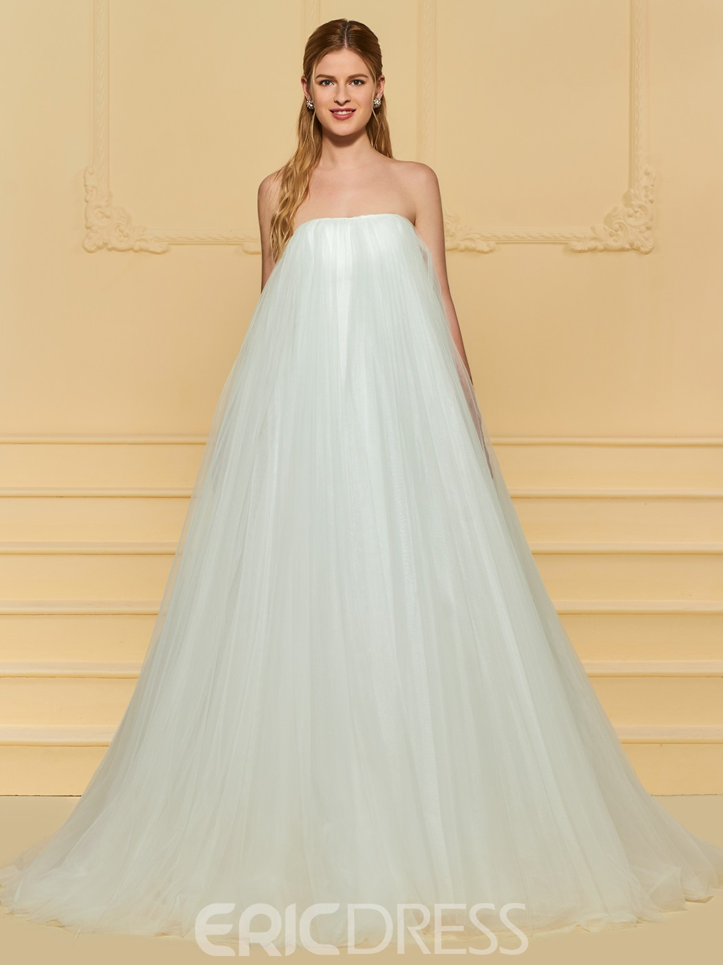 A Line Wedding Dresses.Ericdress Strapless Tulle A Line Wedding Dress