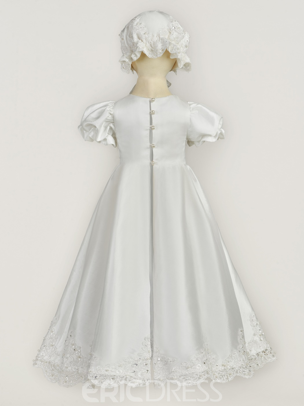 Ericdress Jewel Short Sleeves A Line Appliques Christening Dress