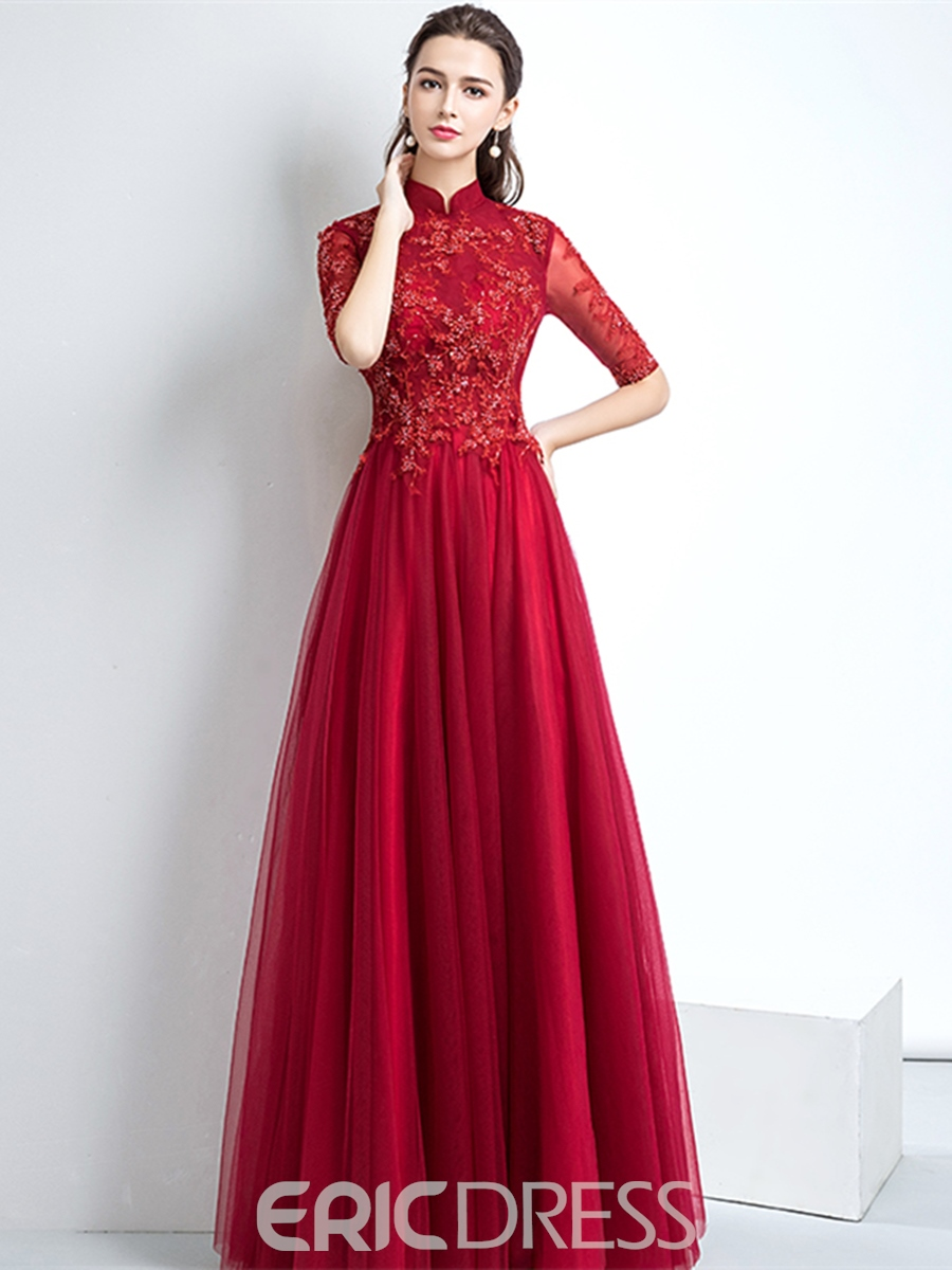 Ericdress High Neck Half Sleeve Vintage Evening Dress With Applique