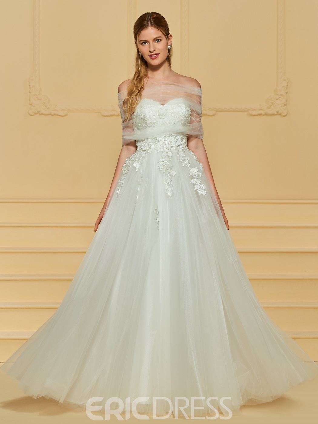 Ericdress Sweetheart Appliques A Line Tulle Wedding Dress 13172392 ...