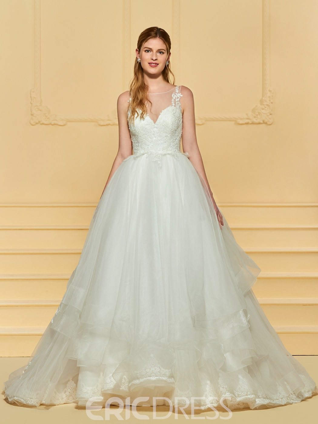Ericdress Scoop Ball Gown Tulle Wedding Dress 13172387 - Ericdress.com