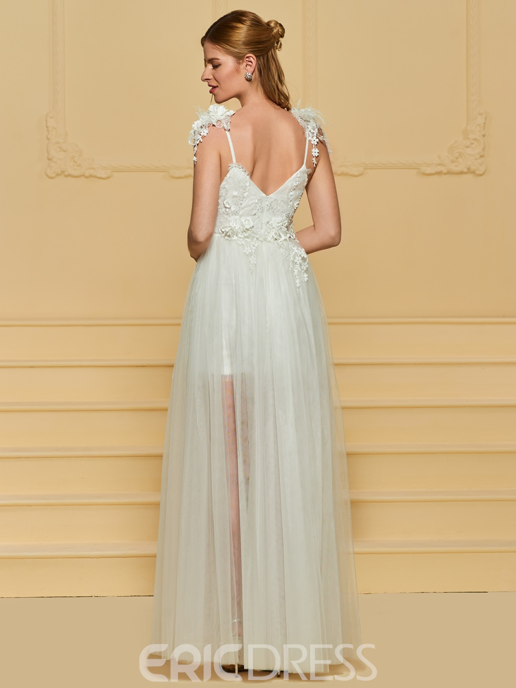 Ericdress Straps Beading Appliques Beach Wedding Dress