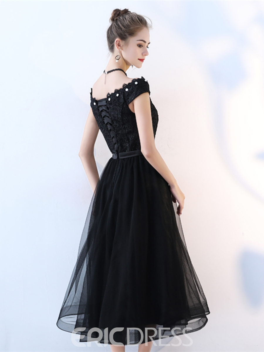 Ericdress A Line Cap Sleeve Lace Black Prom Dress 13239799 ...