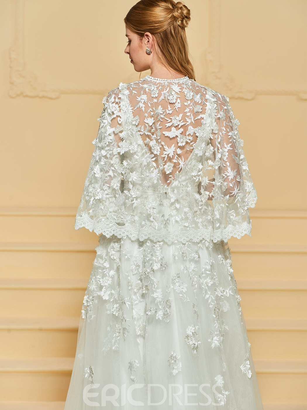 Ericdress Lace Appliques Wedding Dress with Cape