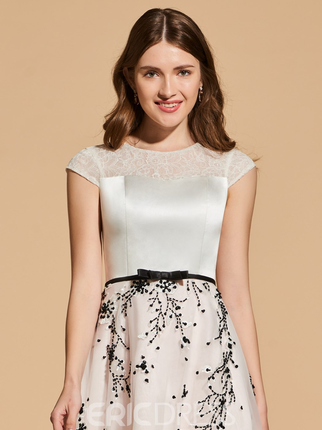 Ericdress A Line Cap Sleeve Short Cocktail Dress With Beadings