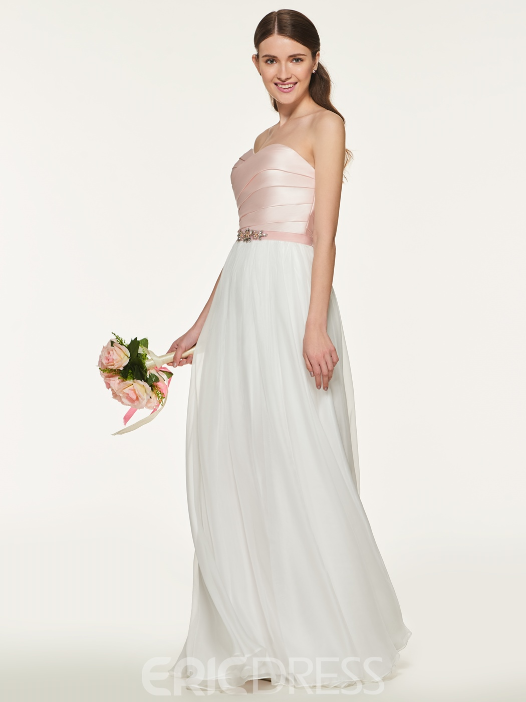 vestido de dama de honor ericdress sweetheart long a line