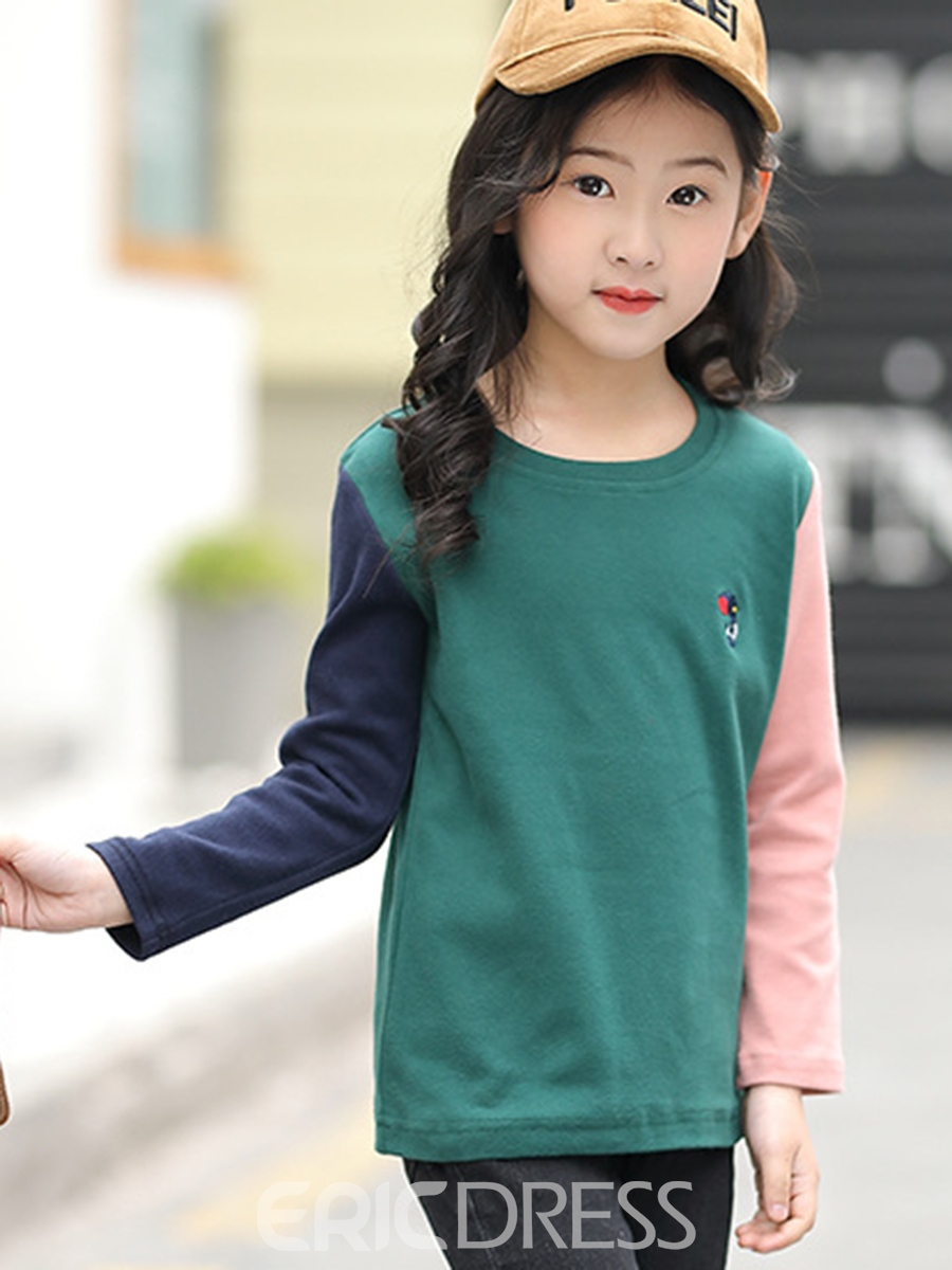 Ericdress Contrast Color Embroidery Girl's T-Shirt