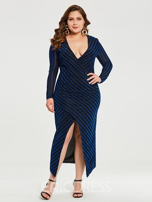 Ericdress Plus Size Ankle-Length V-Neck Long Sleeve Pullover Asymmetrical Dress