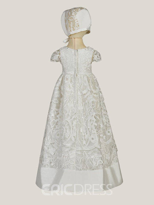 Ericdress Lace Baby Girl's Christening Dress with Bonnet