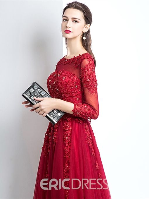Ericdress A Line 3/4 Sleeve Applique Long Evening Dress
