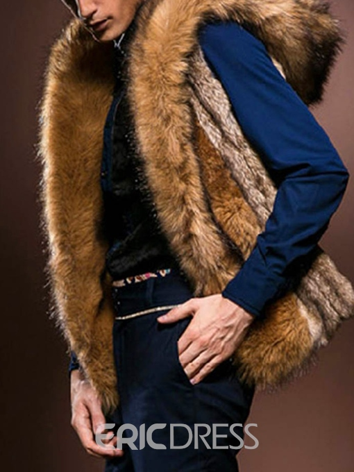 Ericdress Plain Thick Single Breasted Mens Winter Vest