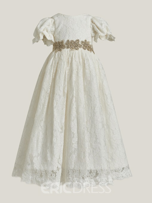 Ericdress Short Sleeves Beading Lace Baby Christening Dress
