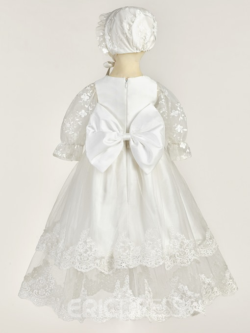 Ericdress Infant Baby Girls Lace Christening Gown with Bonnet