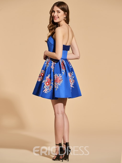 Ericdress A Line Strapless Embroidery Short Cocktail Dress
