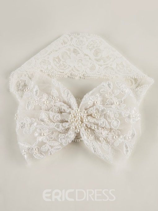 Ericdress Baby Girl Beading Bowknot Headband Christening Dress