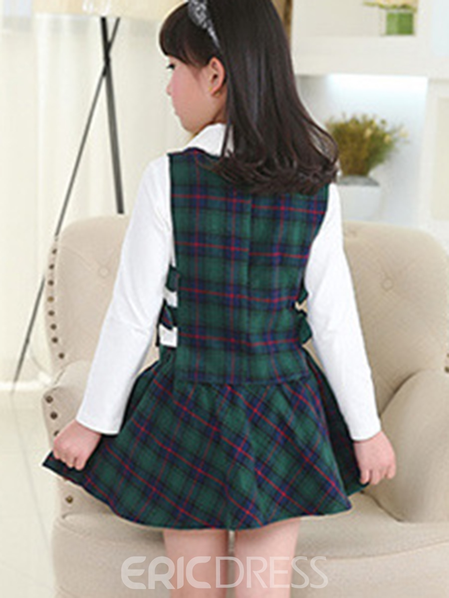 Ericdress Plain T-Shirt Plaid Vest And Skirt Girl's 3-Pcs Outfit