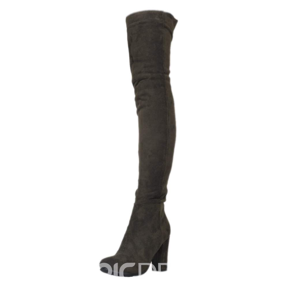 Ericdress Fashion velours rose talon Chunky Thigh High Boots