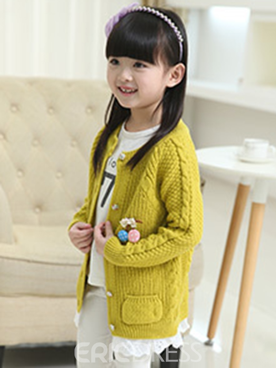 Ericdress Single-Breasted Plain Girl's Sweater
