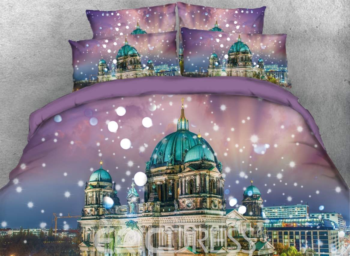 Vivilinen 3D Blue Roof Architecture with Snow Printed 4-Piece Bedding Sets/Duvet Covers
