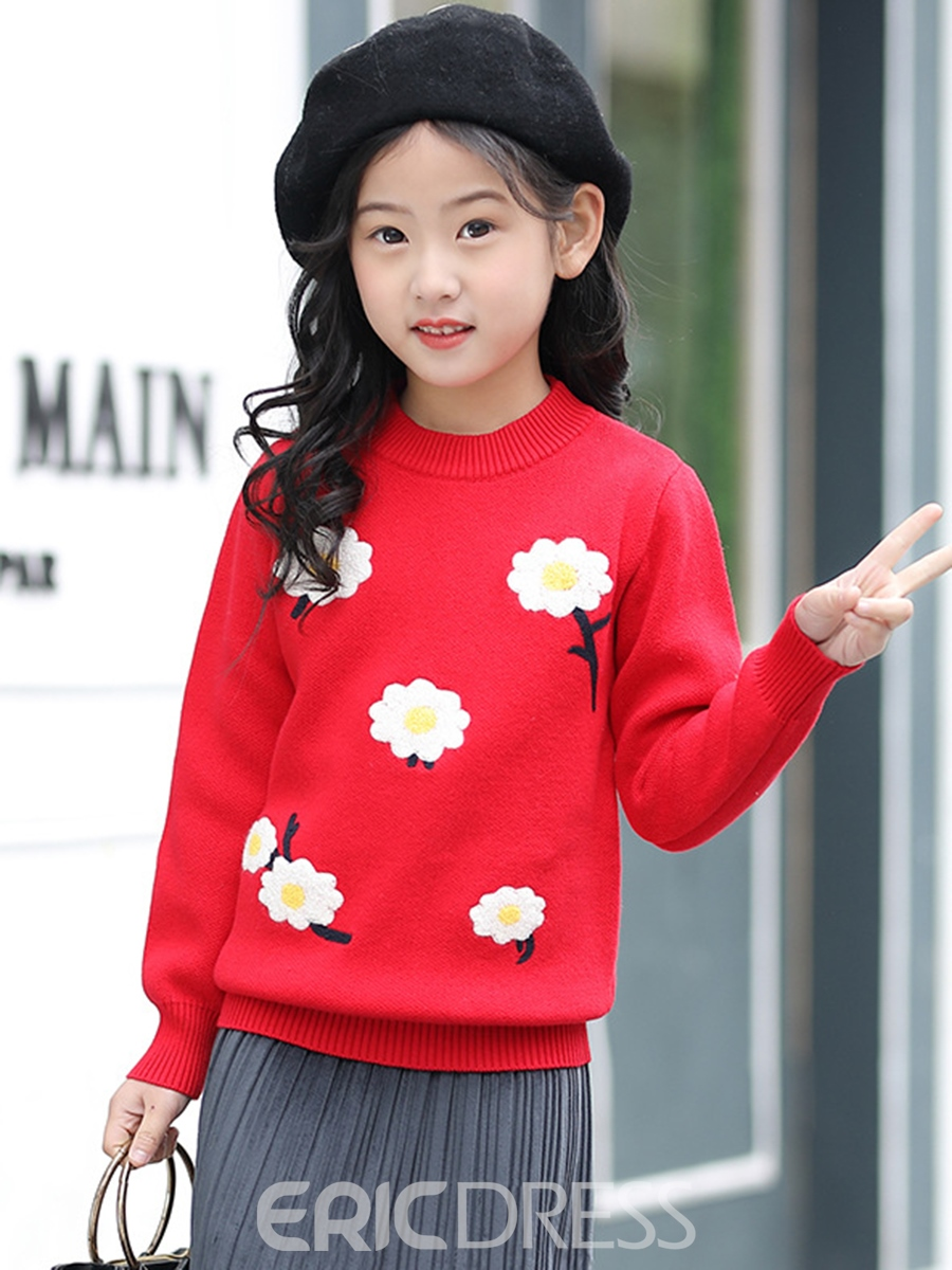 Ericdress Floral Long Sleeve Girl's Sweater