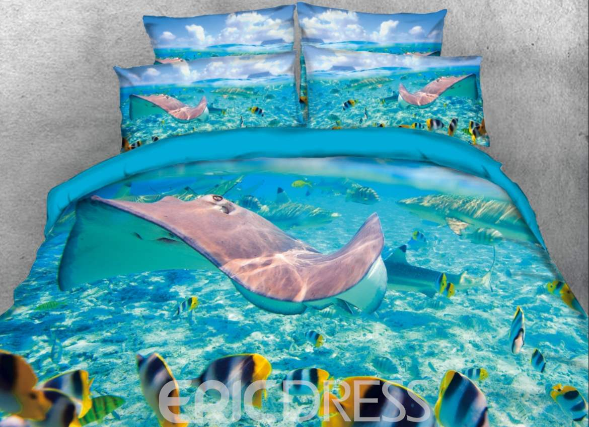 Vivilinen 3D Ocean Marine Organism Printed 4-Piece Bedding Sets/Duvet Covers