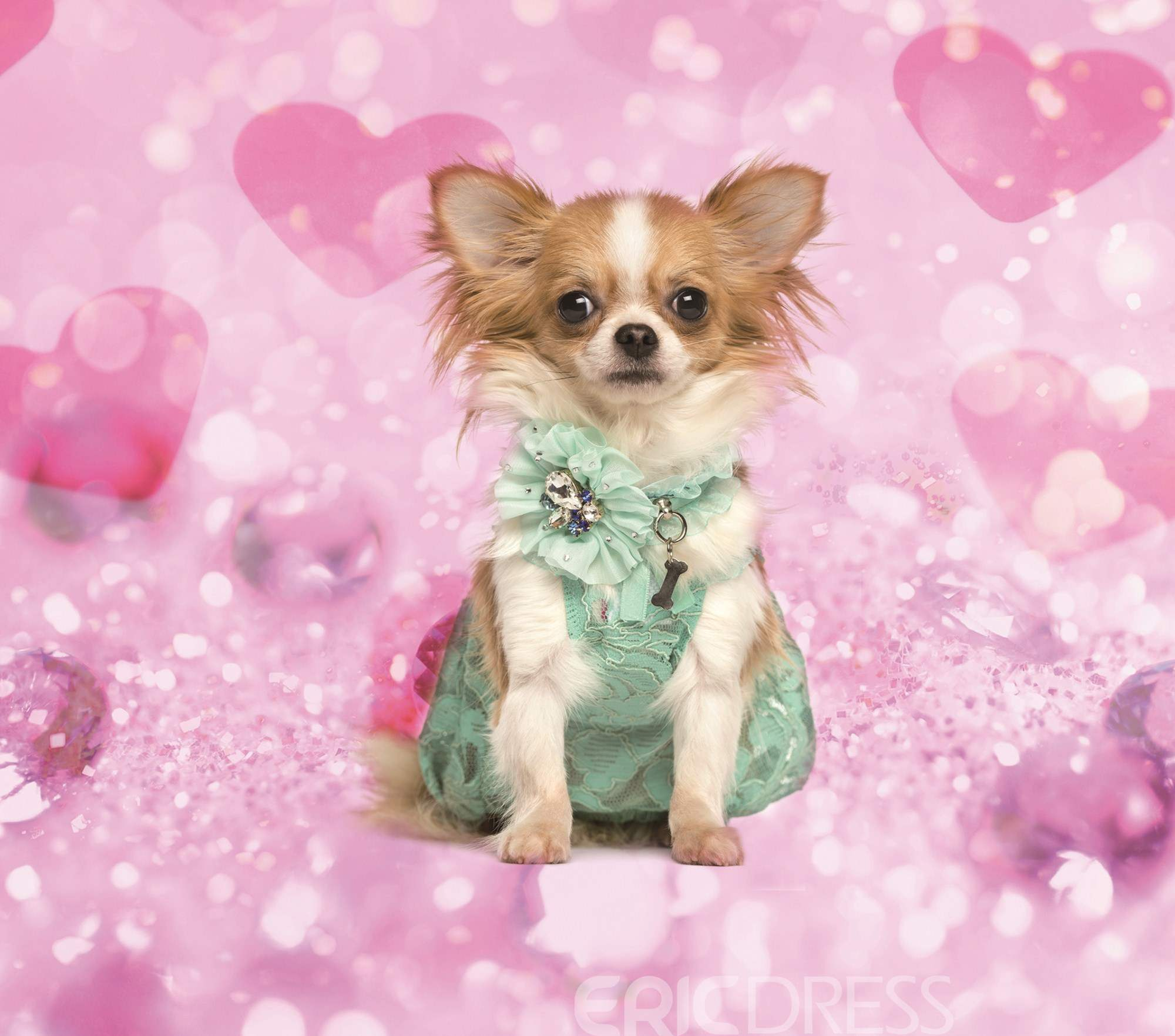 Vivilinen 3D Chihuahua with Green Dress Printed 4-Piece Pink Bedding Sets/Duvet Covers