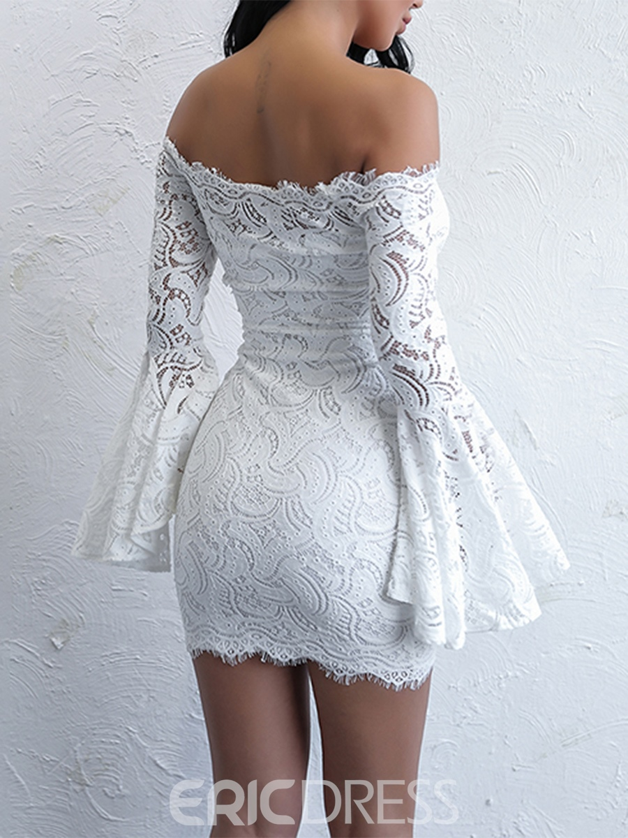 Ericdress Hollow Flare Sleeve Lace Women's Bodycon Dress